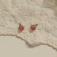 [봄밤달] 유리알 복숭아 귀걸이