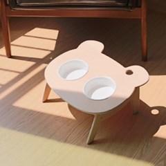강아지 고양이 원목식탁 도자기 식기 프티베어 2구 식탁