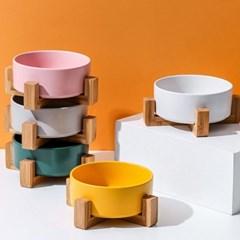 강아지밥그릇 고양이식기 도자기 세라믹 원목받침 물그릇 5color
