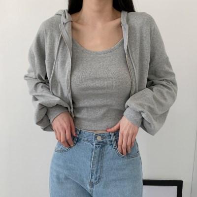 여자 크롭 나시 티셔츠 캐주얼 후드 집업 세트
