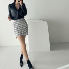 봄 H라인 뒷밴딩 트위드 체크 랩 언발 슬림 미니스커트