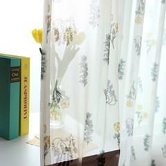 로자리 쉬폰 나비주름 커튼 (커튼핀 포함)