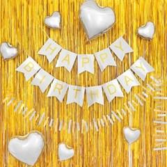 생일파티 은박커튼+가랜드 장식세트 [홀로그램골드 유광_(12230182)