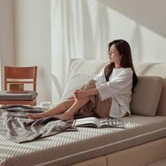 스너그홈 그레이 천연 라텍스 침대 매트리스 15cm K