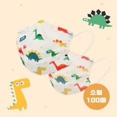 프로월드컵 공룡 3중 필터 소형 일회용 마스크 100매