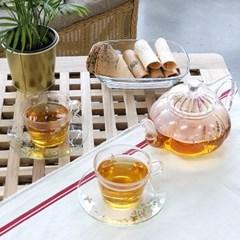 허브데이 커피잔 4인세트 꽃무늬 티컵 내열유리 찻잔+받침 컵앤소서