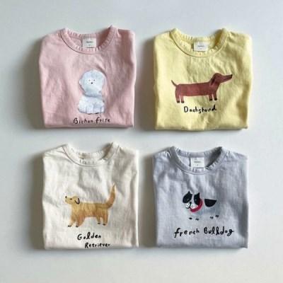 디그린-시눈꽁 강아지 친구들 아동 반팔 티셔츠