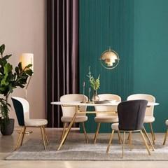 모딜리아니 세라믹 골드 라운드 6인 식탁 테이블