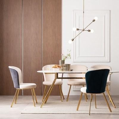 모딜리아니 대리석 골드 라운드 6인 식탁 테이블
