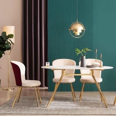 모딜리아니 세라믹 골드 라운드 4인 식탁 테이블