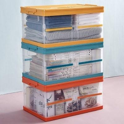 잠금커버 수납함 투명 정리함 활용도 높은 접이식 폴딩박스