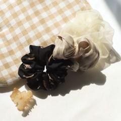 [블루밍데이] 곰돌이 쉬폰 곱창 머리끈 집게핀 4종 세트_브라운블랙