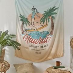 하와이안 서핑 쉬폰 가리개커튼