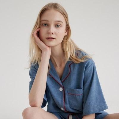 (w) French Blue Short Pajama Set