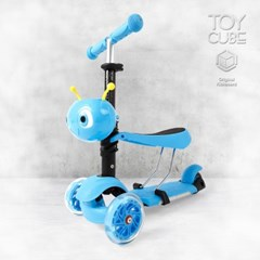 120E 블루 /붕붕카+킥보드(2in1)/LED바퀴및바디 세발킥보드