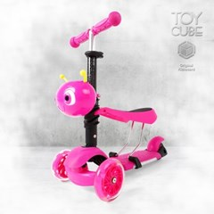 120E 핑크 /붕붕카+킥보드(2in1)/LED바퀴및바디 세발킥보드