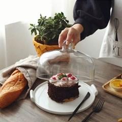 온나 원형 유리 케익돔 디저트 트레이(중형)