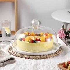 온나 원형 유리 케익돔 디저트 트레이(대형)