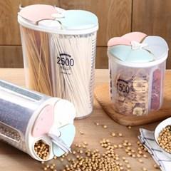 원터치 3칸 잡곡통 1.5L 쌀통 씨리얼통 밀폐용기 보관용기 곡물보관