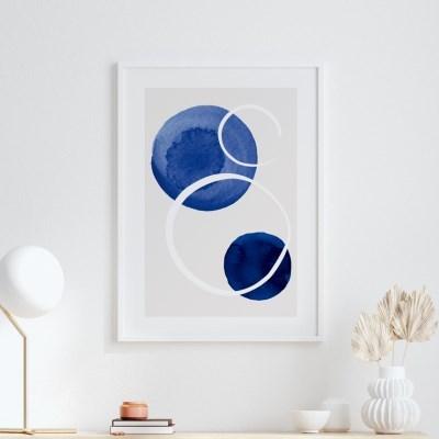 드롭블루 추상화 그림 액자 포스터