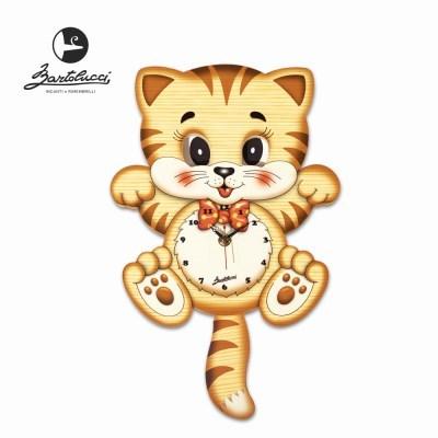 바르톨루치 눈이 움직이는 시계 머리큰 고양이 원목 벽시