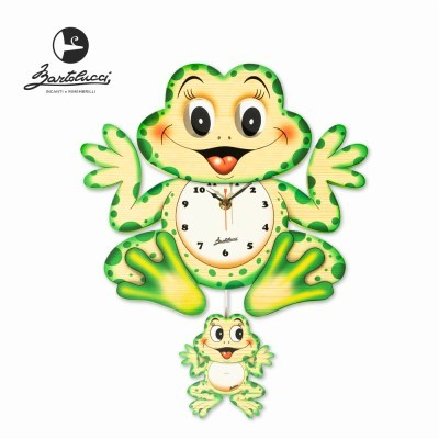 바르톨루치 눈이 움직이는 시계 개구리 원목 벽시계