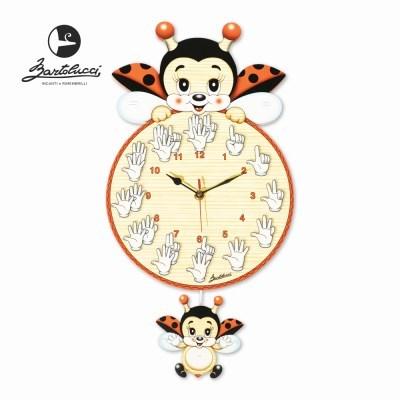 바르톨루치 큰 시계 무당벌레 손 원목 벽시계