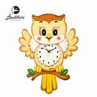 바르톨루치 눈이 움직이는 시계 부엉이 원목 벽시계