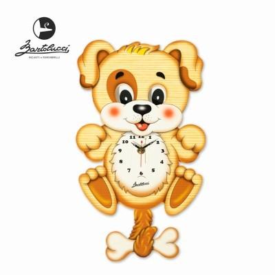 바르톨루치 눈이 움직이는 시계 강아지 원목 벽시계