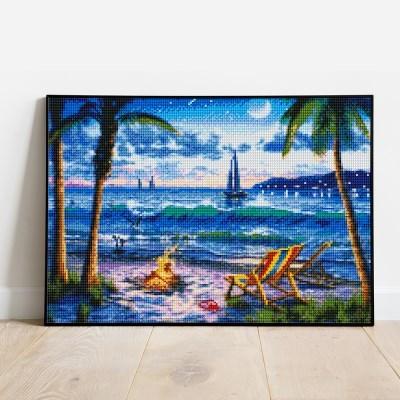 보석십자수 한가로운 해변가 DIY 픽스아트 큐빅 비즈 자수