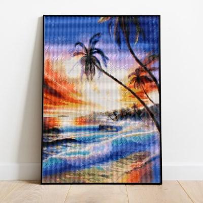 보석십자수 아름다운 해변 DIY 픽스아트 큐빅 비즈 자수놓