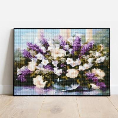 보석십자수 흰꽃과 라벤더 DIY 픽스아트 큐빅 비즈 자수놓