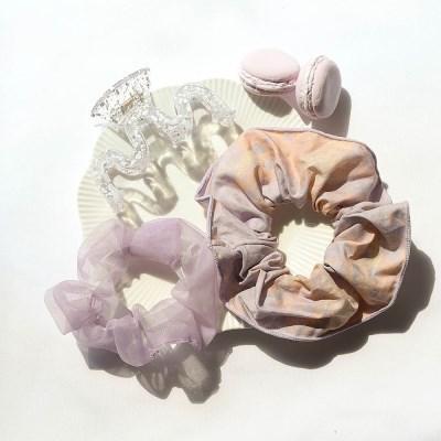 [블루밍데이] 달마시안 곱창 머리끈 집게핀 3종 세트_바이올렛