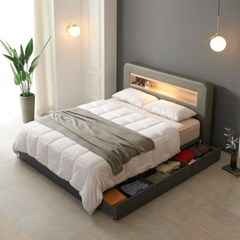 가구데코 헤밍 LED 3서랍수납형 소프트 유로탑30T K 침대 DM2085