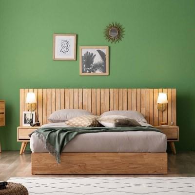 메르시 원목 호텔형 수납 침대(W 양모 65T 9존 독립매트-Q)+협탁