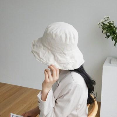 린넨 챙넓은 기본 심플 데일리 버킷햇 벙거지 모자