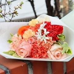 [사전주문] 꽃으로 전하는 감사, 코랄빛 카네이션 꽃다발 (생화)