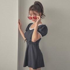 여자 레이스 프릴 퍼프소매 공주님 원피스 수영복