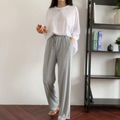 여자 여름 집앞패션 레이어드 루즈핏 라운드 롱 긴팔티셔츠