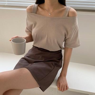 여자 여름 20대 30대 어깨라인 숄더 스트랩 반팔티