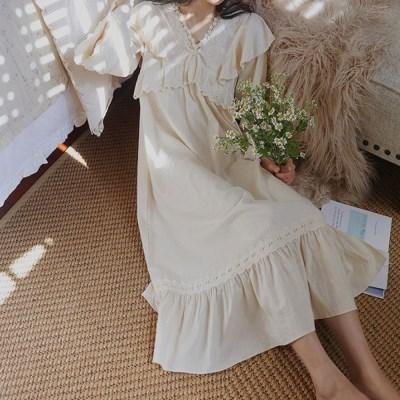 엘핀 봄 여름 공주 원피스 잠옷 홈드레스 롱 파자마