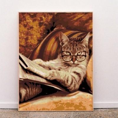 신문보는 고양이 DIY명화그리기 유화그리기세트_(2560235)