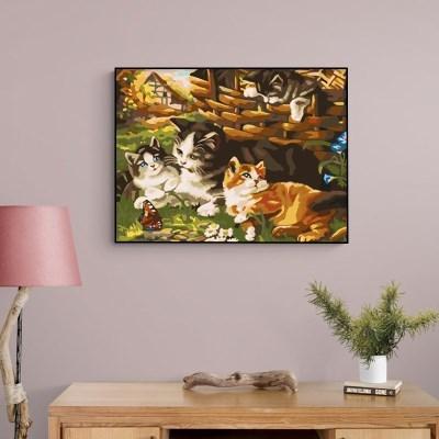 귀여운 고양이 네마리 DIY명화그리기 유화그리기세트_(2560233)