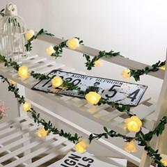 20구 LED 로즈 가랜드 전구 장미꽃 줄기 와이어무드등
