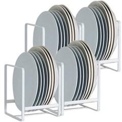 그릇꽂이 그릇정리대 주방 접시정리대 화이트 4개