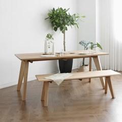 [오크] L형 식탁/테이블 세트 : 화이트오크 1800_(1727096)