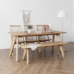 [오크] L1형 식탁/테이블 세트 : 화이트오크 1800_(1727095)
