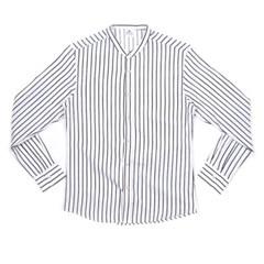 남자 헨리넥 스트라이프 롤업 핏좋은 여행패션 셔츠