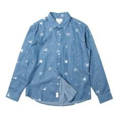 남자 별프린트 데일리 청 빈티지 행사 포켓 셔츠
