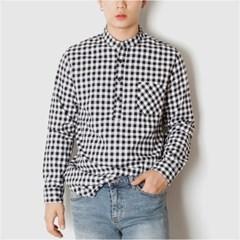 남자 헨리넥 포켓 깅엄체크 캔퍼스룩 20대 30대 셔츠